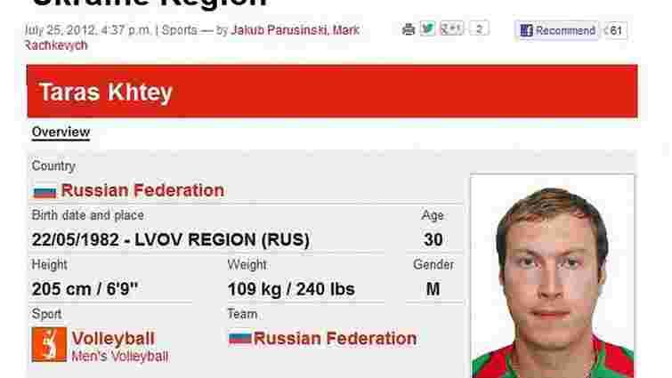 На Олімпіаді-2012 Львів позначили як регіон Росії