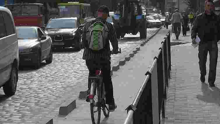 На Січових стрільців смугу для маршруток відділять велодоріжкою. Фото
