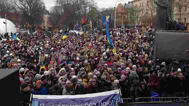 На Євромайдан у Львові зібралося близько 5 тисяч студентів