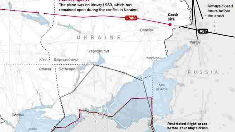 Росія закрила коридор для збитого Boeing 777 за кілька годин до його трагедії, - NY Times