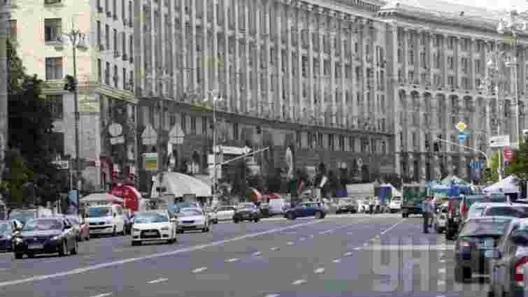 У Києві пікетувальники частково перекрили Хрещатик та винесли шини на проїжджу частину