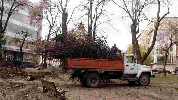 У сквері Святого Юра почали зрізати дерева