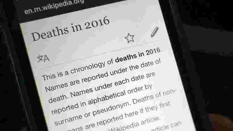 «Вікіпедія» назвала найчастіше редаговані статті в 2016 році