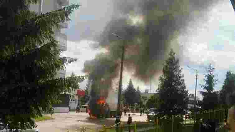 На дорозі у Дрогобичі згорів самоскид