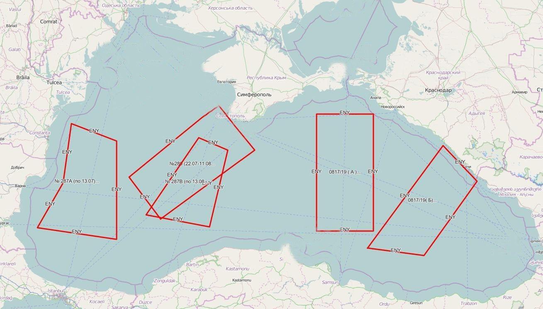 Перекриті Росією райони Чорного моря згідно з міжнародним приписом 0817/2019