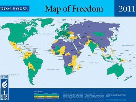 Freedom House: У світі лише 87 вільних країн