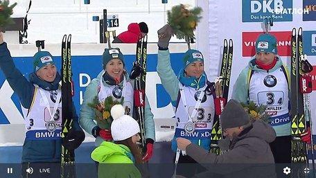 Жіноча збірна України з біатлону здобула срібні нагороди в естафеті у Хохфільцені