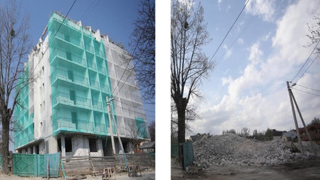 У Львові остаточно знесли незаконну багатоповерхівку. Фото до і після