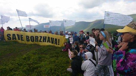 На горі Гимба провели акцію проти будівництва вітряків на полонині Боржава