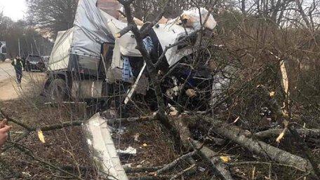 На трасі Львів-Краківець фуру розтрощило об дерева після вистрілу колеса на ходу