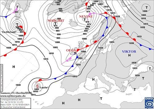 Синоптична мапа з антициклоном «Віктор» над Україною
