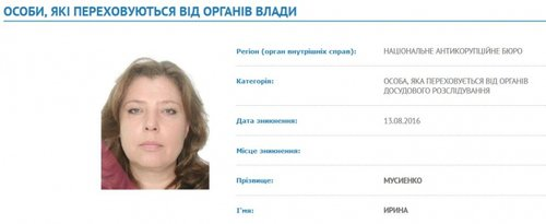 Розшукова картка Мусієнко на сайті МВС