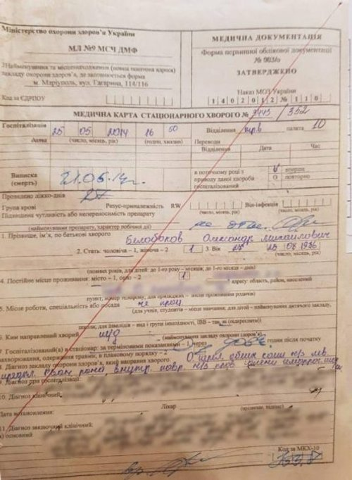 Фото медичної довідки про травму Бєлобокова