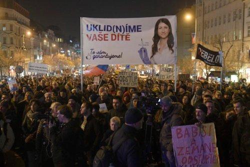 На одному з плакатів протестувальників була зображена лікарка Діта Протопопова