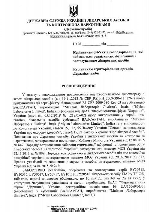 Лист Дерлікслужби щодо заборони реалізації препарату, який містить шкідливу домішку