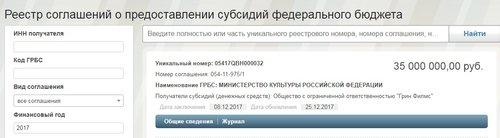 Скріншот повідомлення з реєстру субсидій РФ