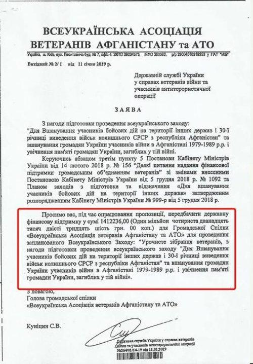 Лист від Сергія Куніцина з проханням виділити 1,8 млн грн