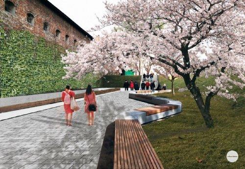 У центрі Львова  за 10,5 млн грн створять громадський простір з фонтаном (візуалізація). Фонтан облаштують, наповнивши водою рів перед брамою