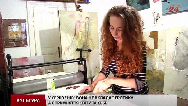 Львів'янка Оля Кузюра творить ліногравюру на верстаті з деталей січкарні і танка