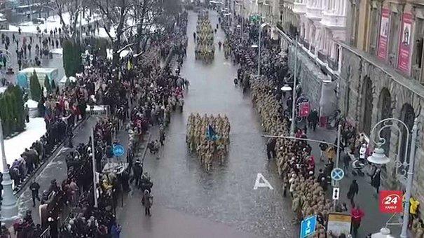 Марш захисників у центрі Львова зняли з висоти пташиного польоту