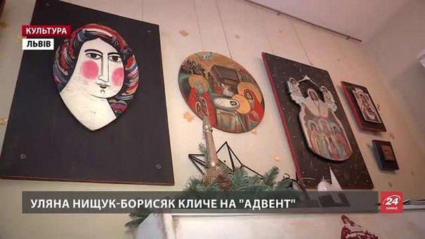 Львівська мисткиня Уляна Нищук-Борисяк пише ікони на старих дверях