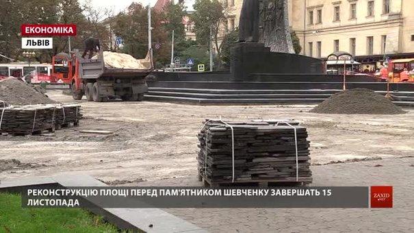 Реконструкцію площі біля пам'ятника Шевченку завершать 15 листопада