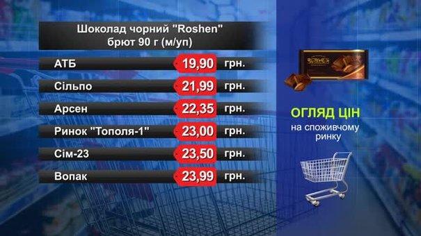 Чорний шоколад ROSHEN Brut. Огляд цін у львівських супермаркетах за 16 лютого