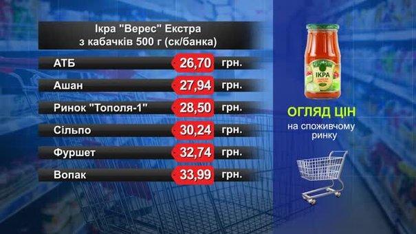 Ікра з кабачків. Огляд цін у львівських супермаркетах за 26 лютого