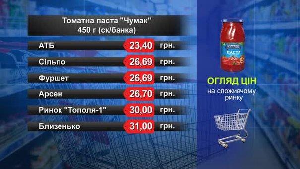 """Томатна паста """"Чумак"""" 450 г. Огляд цін у львівських супермаркетах за 6 березня"""