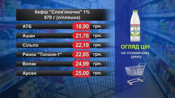 Кефір «Слов'яночка» 870 г. Огляд цін у львівських супермаркетах за 7 березня