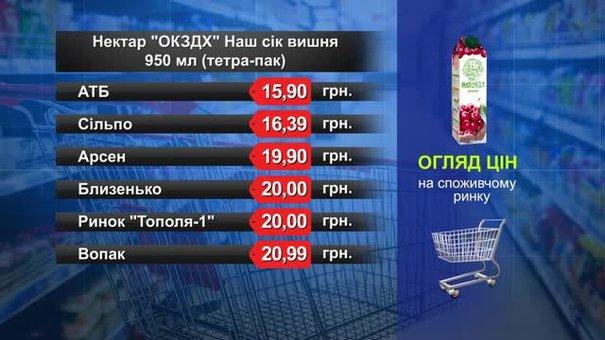 Сік вишневий 950 мл. Огляд цін у львівських супермаркетах за 12 березня