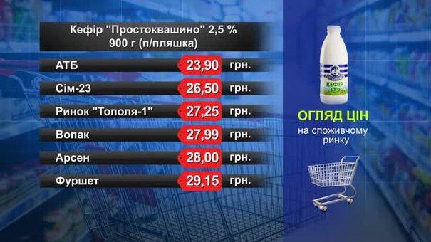 Кефір Простоквашино 900 г. Огляд цін у львівських супермаркетах за 14 березня