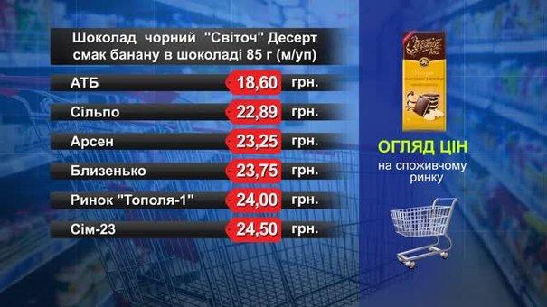 Чорний шоколад «Світоч» (десерт). Огляд цін у львівських супермаркетах за 16 березня