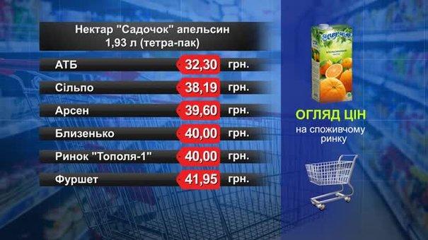 Нектар «Садочок» апельсин. Огляд цін у львівських супермаркетах за 2 квітня