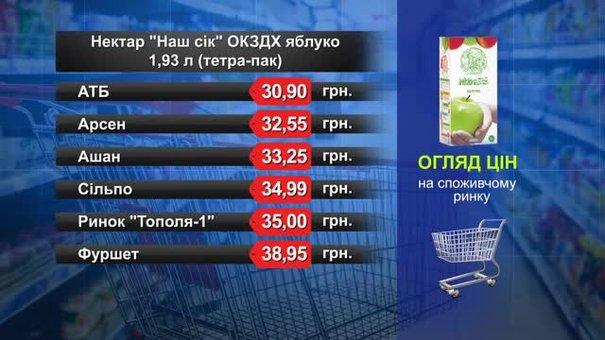 Сік яблучний. Огляд цін у львівських супермаркетах за 18 квітня
