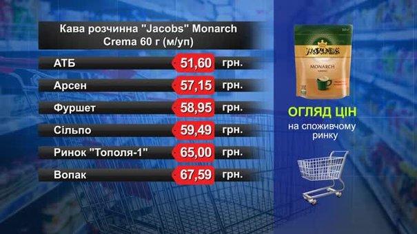Кава розчинна Jacobs Monarch. Огляд цін у львівських супермаркетах за 3 травня
