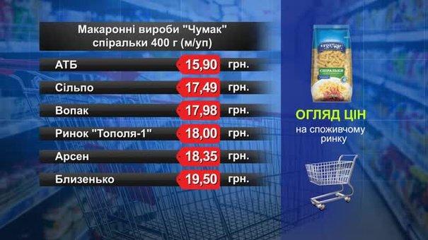 Макаронні вироби «Чумак». Огляд цін у львівських супермаркетах за 21 травня