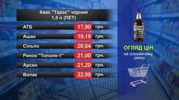 Квас «Тарас» чорний. Огляд цін у львівських супермаркетах за 5 червня