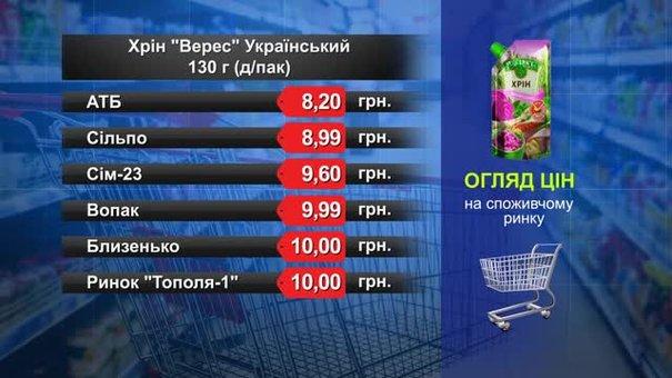 Хрін «Верес» Український . Огляд цін у львівських супермаркетах за 17 липня