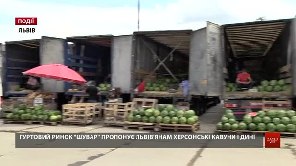 Гуртовий ринок «Шувар» пропонує львів'янам херсонські кавуни і дині