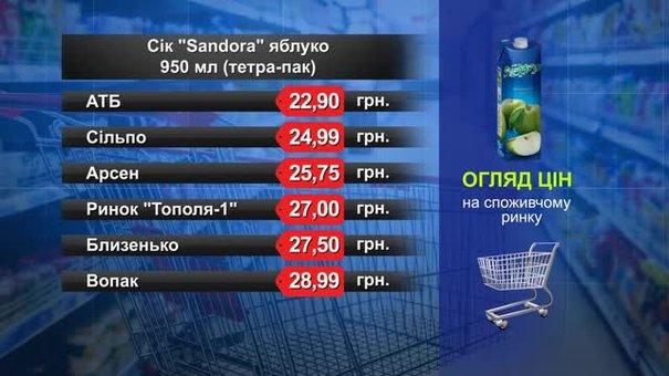 Сік Sandora. Огляд цін у львівських супермаркетах за 23 липня
