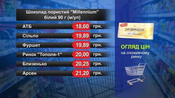Шоколад Millennium білий. Огляд цін у львівських супермаркетах за 30 липня
