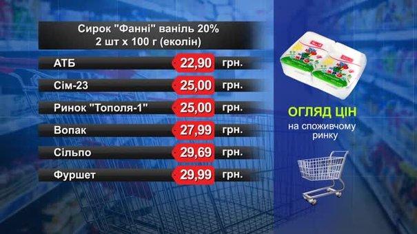 Сирок «Фанні» ваніль. Огляд цін у львівських супермаркетах за 15 серпня