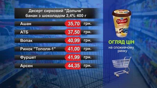 Десерт сирковий «Дольче». Огляд цін у львівських супермаркетах за 30 серпня