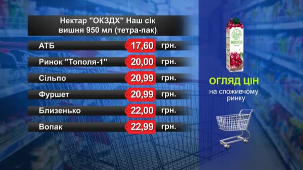 Нектар «ОКЗДХ» вишневий. Огляд цін у львівських супермаркетах за 25 жовтня