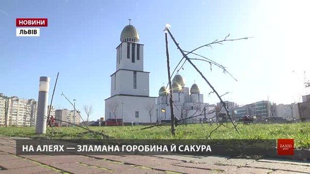 Завдані збитки у парку Івана Павла ІІ оцінюють у понад 150 тис. грн