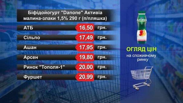 Біфідойогурт Danone. Огляд цін у львівських супермаркетах за 23 листопада