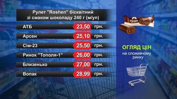 Рулет Roshen бісквітний зі смаком шоколаду. Огляд цін у львівських супермаркетах за 18 грудня