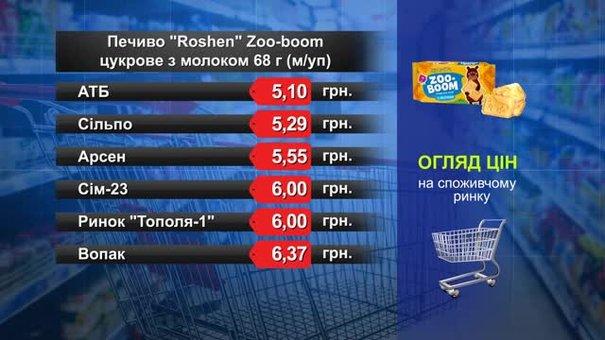 Печиво Roshen Zoo-boom цукрове з молоком. Огляд цін у львівських супермаркетах за 20 грудня