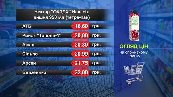 Нектар «ОКЗДХ» Наш сік вишня. Огляд цін у львівських супермаркетах за 22 грудня